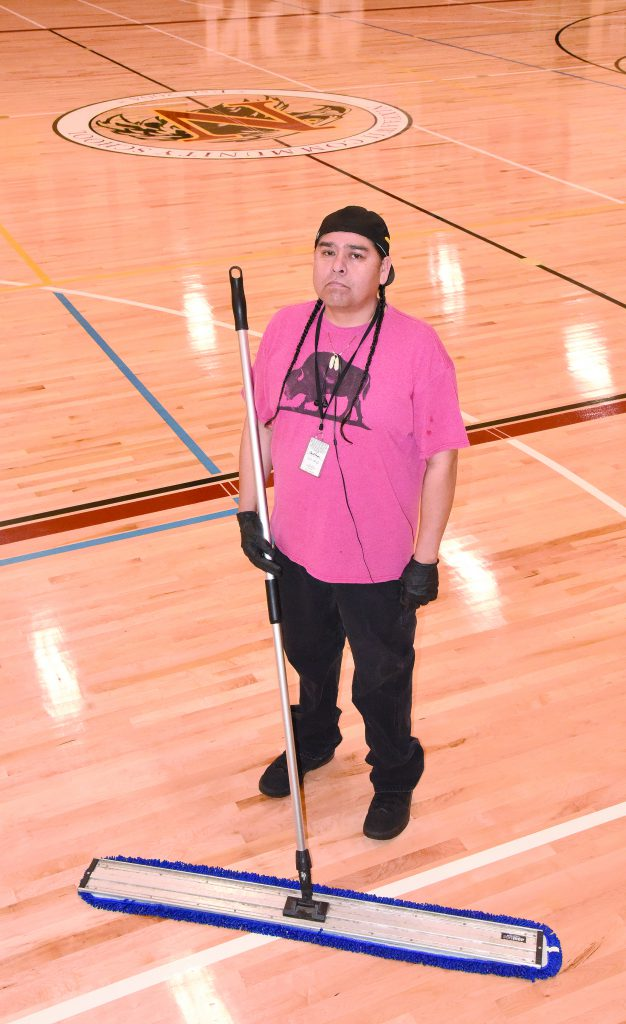 Wus Gone takes pride in the Eagles Nest gym floor at Nixyaawii Community School where he puts in as many as 17,000 steps in a day. But with one kidney and Type 1 diabetes, he's not that healthy.